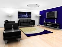Contemporary lounge interior. 3D render of a contemporary lounge interior