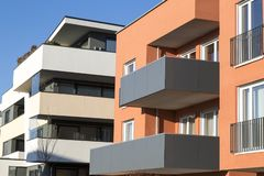 New luxury apartment buildings, penthouse stock image