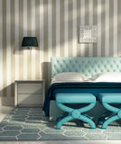 Contemporary luxury bedroom with blue stools Royalty Free Stock Photos