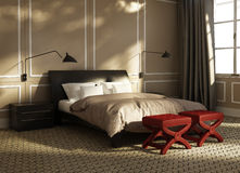 Contemporary luxury bedroom with red stools Royalty Free Stock Image