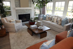 Contemporary luxury home. Luxury home living room with contemporary furniture stock photo