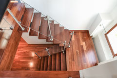 Contemporary Mahogany stairs basement top view Stock Photography