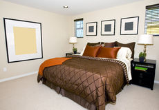 Contemporary master bedroom royalty free stock photo