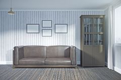 Contemporary meeting room with blank frames. Contemporary living room interior with blank frames on wall and city view. Mock up, 3D Rendering Royalty Free Stock Image