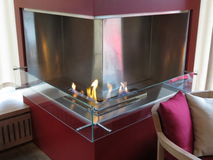 Contemporary methane fireplace Royalty Free Stock Image