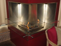 Contemporary methane fireplace Stock Photography