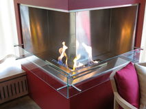 Contemporary methane fireplace Royalty Free Stock Photos