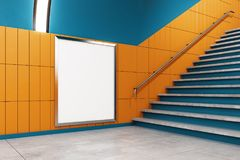Contemporary metro with empty poster. And stairs. Mock up, 3D Rendering Royalty Free Stock Photo