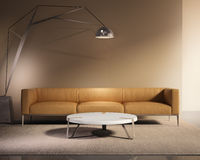 Contemporary minimal tobacco leather sofa with rug vector illustration