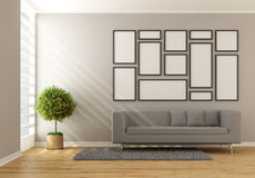 Contemporary minimalist living room Royalty Free Stock Images