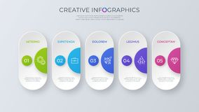 Contemporary minimalist vector infographic design with five options. royalty free illustration