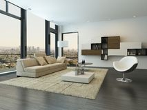 Contemporary modern living room interior Stock Photos