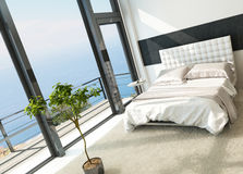 Contemporary modern sunny bedroom interior with huge windows Royalty Free Stock Images