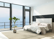 Contemporary modern sunny bedroom interior with huge windows stock illustration