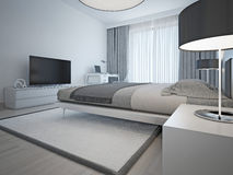 Contemporary monochrome hotel room Royalty Free Stock Image