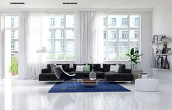 Contemporary monochrome white living room interior Royalty Free Stock Images