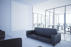 Contemporary office with blank whiteboard. Contemporary office interior with lounge area, workplaces and blank whiteboard. Mock up, 3D Rendering Stock Photos
