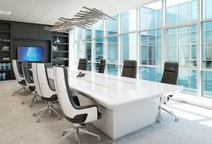 Contemporary Office conference room interior with abstract accents. royalty free stock image