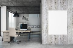 Contemporary office with blank poster. Contemporary office interior with blank poster on wall. Mock up, 3D Rendering Stock Images