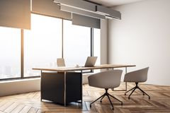 Contemporary office interior. With desktop and chairs, window with city view and daylight, wooden floor and concrete walls. 3D Rendering vector illustration