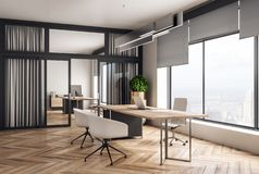Contemporary office interior. Contemporary wooden office interior with furniture, city view and daylight. 3D Rendering stock illustration
