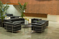 Contemporary Office Lobby. A Contemporary Office Lobby with Leather Couches and Chairs Stock Photos