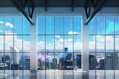 Contemporary office with New York view. Royalty Free Stock Images