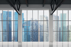 Contemporary office with Singapore view. Financial city centre. Contemporary office with Singapore view. Financial city centre, close up Stock Images