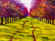 Contemporary painting of a path through a line of trees. Royalty Free Stock Photo