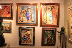 Contemporary paintings at Art Gallery in Saint Paul de Vence Stock Photo