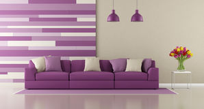 Contemporary purple living room Royalty Free Stock Images