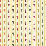 Contemporary red, blue, orange, green hand drawn triangles with grunge stripes as geometric seamless vector pattern on vector illustration