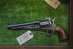 Free Contemporary Reproduction Of A Vintage Black Powder Cap And Ball Ruger Old Army Revolver At A Gun Shop Royalty Free Stock Photos - 207702538