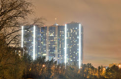 Contemporary residential skyscraper at night. Stock Images