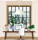 Contemporary room workplace with large window and laptop on table at home. Office room interior set. Flat style vector illustration Royalty Free Stock Image
