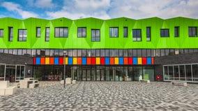 Contemporary school entrance. Facade and Entrance of a Modern Futuristic Educational Facility in the Netherlands Europe Stock Photos