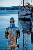 Contemporary scuplture of a diver in Oslo. OSLO - MARCH 21: Contemporary scuplture of a diverrin Oslo harbour Stock Photography