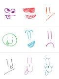 Contemporary Set of Hand Drawn Silly Faces Stock Photos