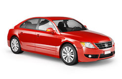 Contemporary Shiny Red Sedan Car Stock Photo
