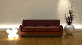 Contemporary sofa in modern setting Royalty Free Stock Photos
