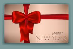 Contemporary solid Happy New Year card with red bow and red  Royalty Free Stock Photo