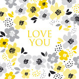 Contemporary spring floral design. With yellow abstract flowers. modern geometry vector illustration. stylish surface design for cards, poster, web banners Royalty Free Stock Images