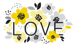 Contemporary spring floral design. With yellow abstract flowers. modern geometry vector illustration. stylish surface design for cards, poster, web banners Royalty Free Stock Photography