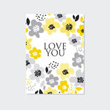 Contemporary spring floral design. With yellow abstract flowers. modern geometry vector illustration. stylish surface design for cards, poster, web banners Stock Photos