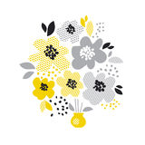 Contemporary spring floral design. With yellow abstract flowers. modern geometry vector illustration. stylish surface design for cards, poster, web banners Royalty Free Stock Image