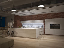 Contemporary steel kitchen in converted industrial Stock Image