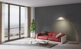 Contemporary style interior, home living room. Red couch with small table, plant and  lamp Royalty Free Stock Photos
