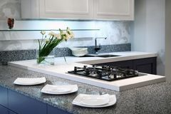 Contemporary style kitchen. Modern interior of contemporary style kitchen Royalty Free Stock Image