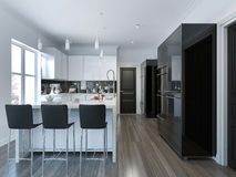 Contemporary style kitchen bar. 3D render Stock Photography