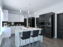 Contemporary style kitchen bar Stock Images